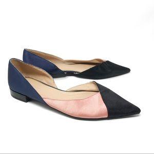 Zara Pointed Toe Dorsay Flats Satin Colorblock 37